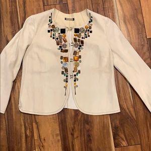 Rozae Nichols suede off white, embellished jacket